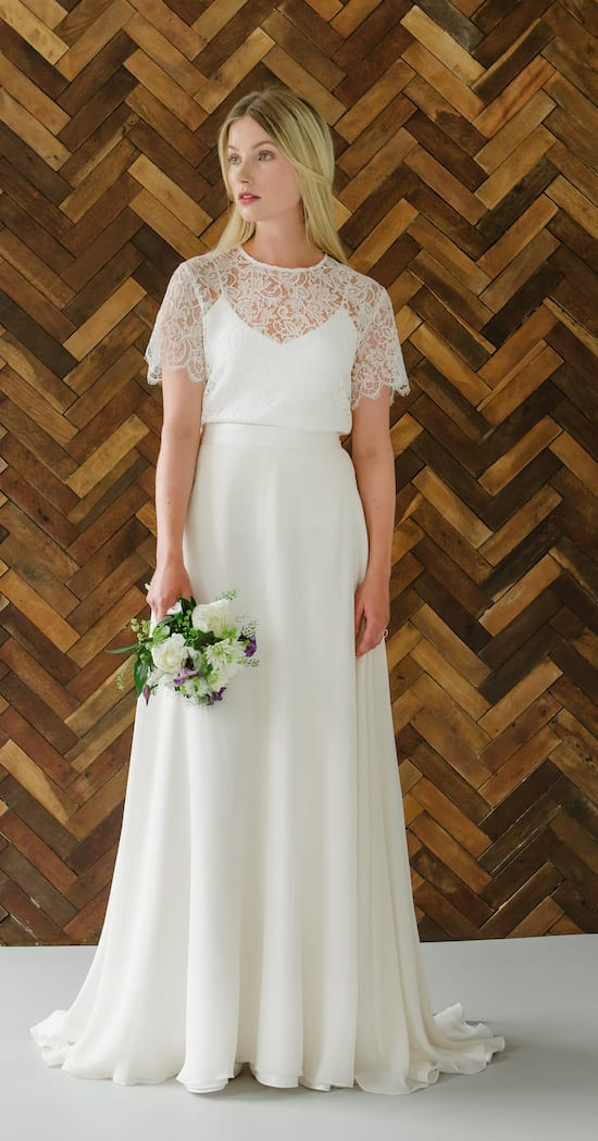 minimalistic romantic silk wedding dress with lace bridal top