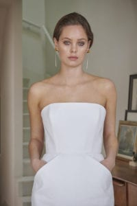 strapless boned cotton wedding dress with slim