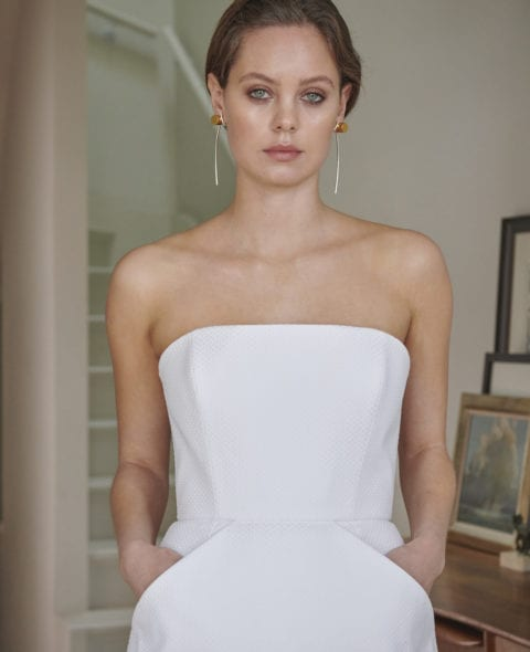 strapless boned cotton wedding dress with slim
