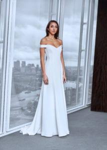 off shoulder wedding dress with corset