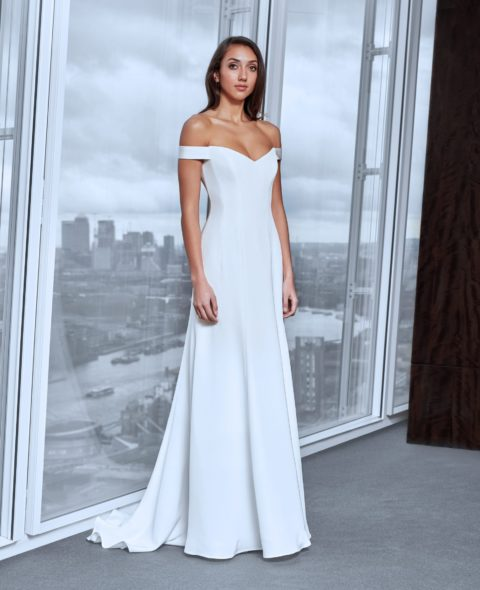 off shoulder wedding dress with corset