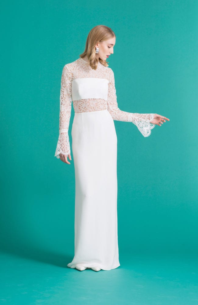 white bridal skirt and bandeau with long sleeve lace bridal top