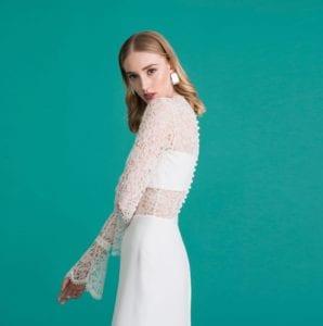 high neck long sleeve wedding dress
