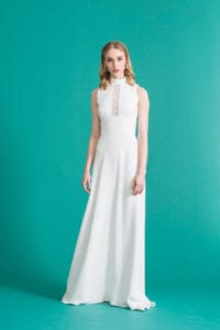 hatler neck no sleeves column wedding dress