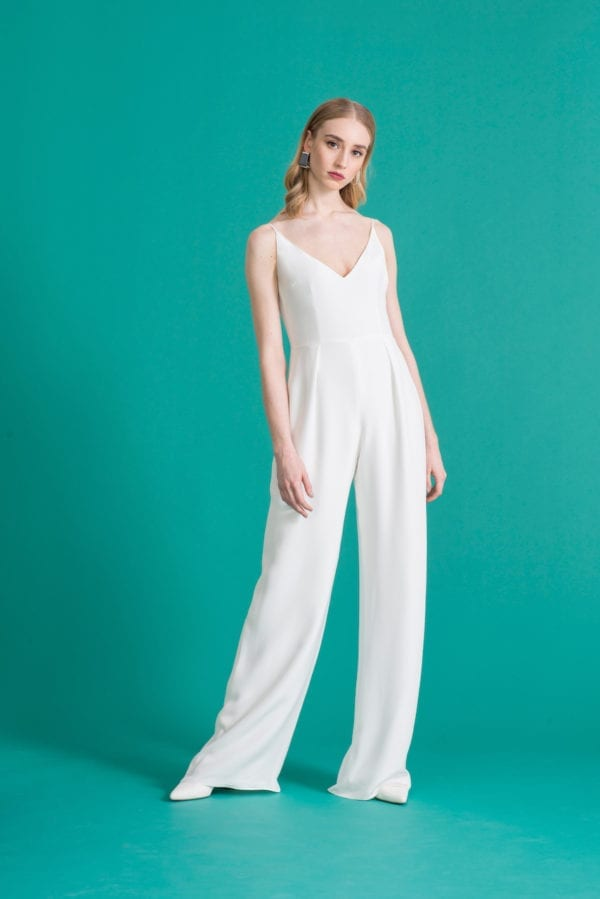 V-neck strappy wedding jumpsuit