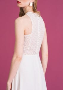 back shot high neck wedding dress with lace top