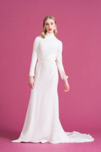 halter neck long sleeve retro wedding dress