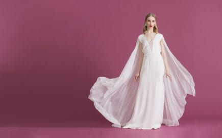 cap sleeve deep v neck wedding dress with sheer overlay