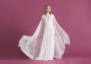 sheer silk wedding dress with overlay and bridal cape