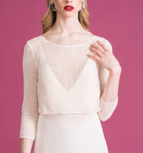 close up of retro lace bridal top