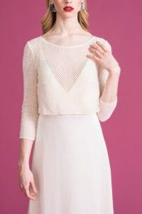 Strappy silk wedding dress