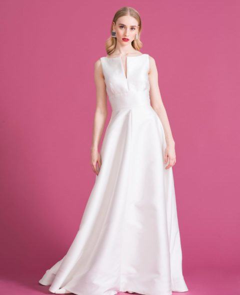 sleeveless square neck empire wedding dress