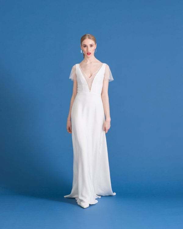 wedding dress with lace cap sleeves