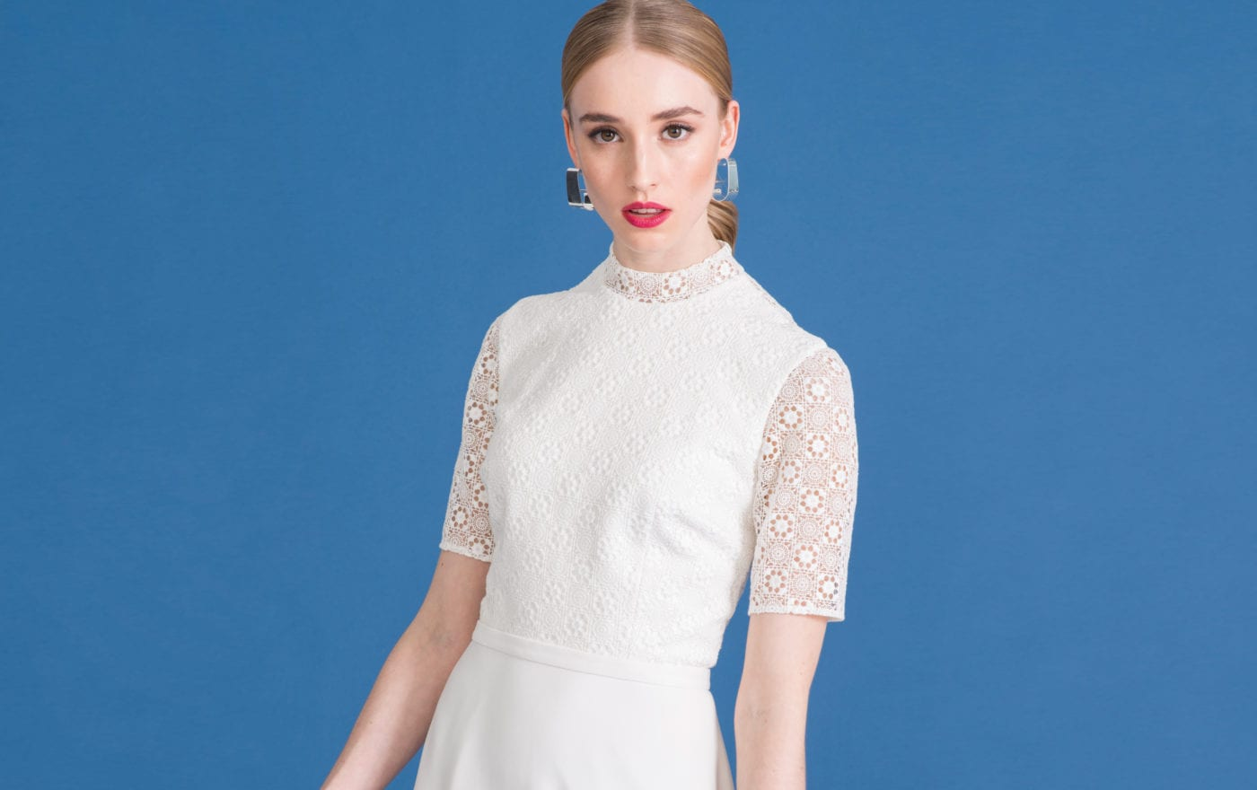 high neck wedding dress with retro lace bridal top