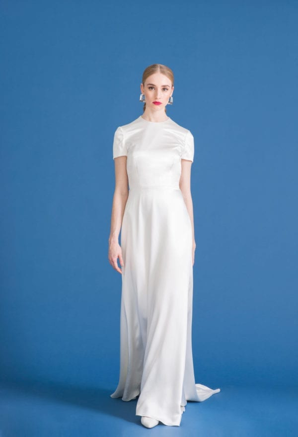 high neck sheer silk wedding dress with short sleeves