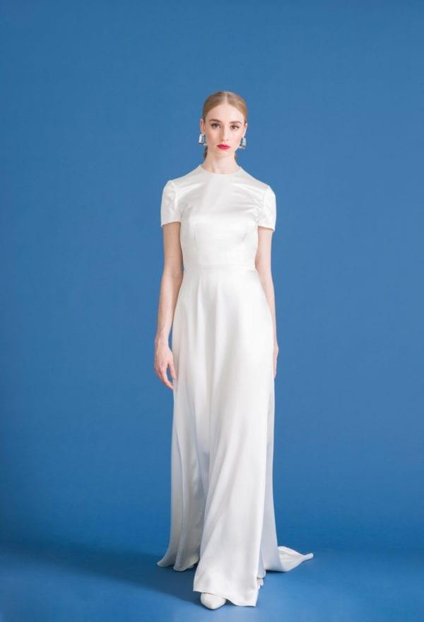high neck sheer silk wedding dress with short sleeves