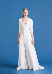 long sleeve v neck bridal dress with front lace buttons
