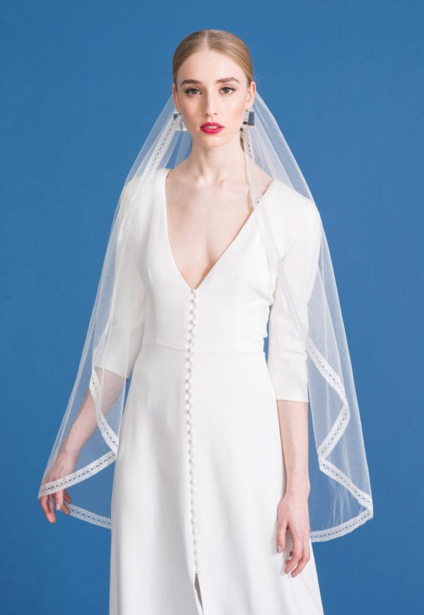 v-neck wedding dress with a-line skirt, sleeves and buttons