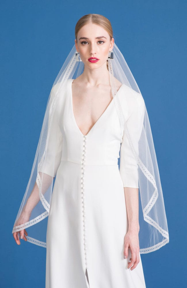 long sleeve deep v neck wedding dress with fingertip wedding veil