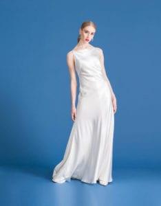 square neckline sleeveless silk wedding dress
