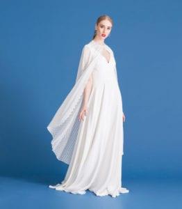 v neck white wedding dress with retro lace bridal cape