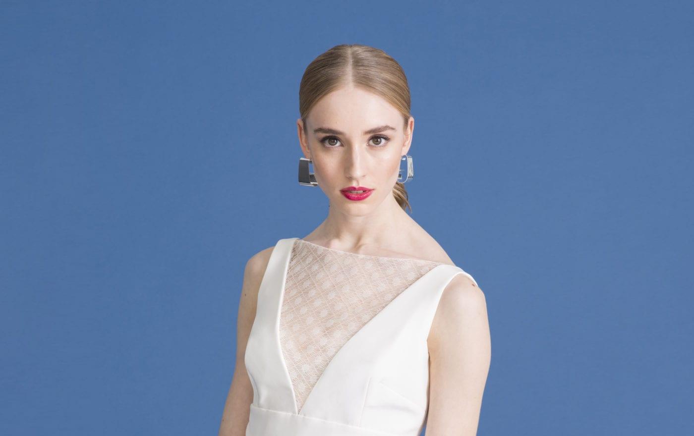 sleeveless v neck empire wedding dress with lace overlay
