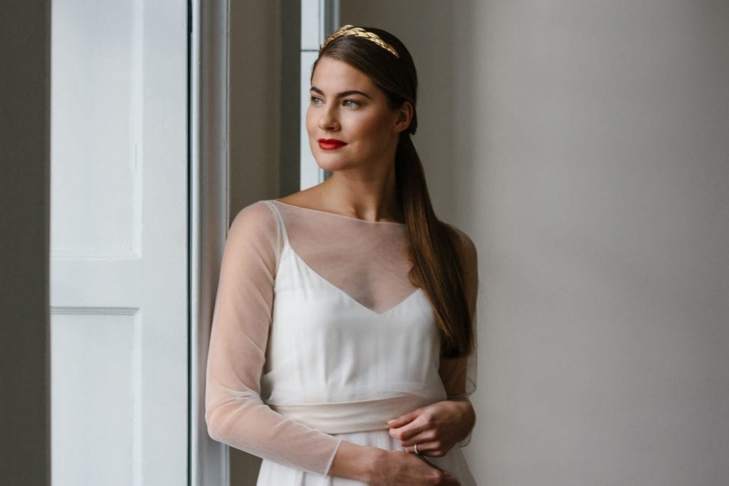 woman wearing wedding dress accessories