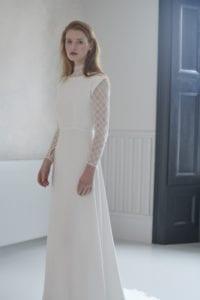 high neck long lace sleeve wedding dress