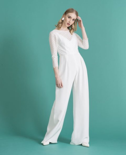 bridal jumpsuit with long lace sleeves