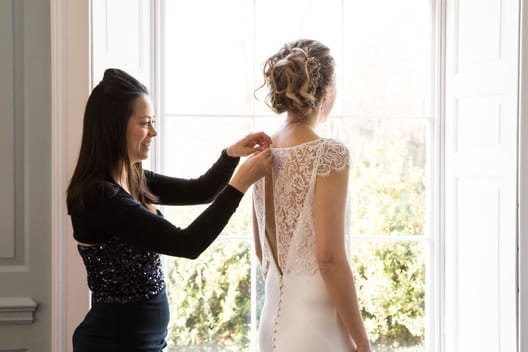 Aly having lace top put on