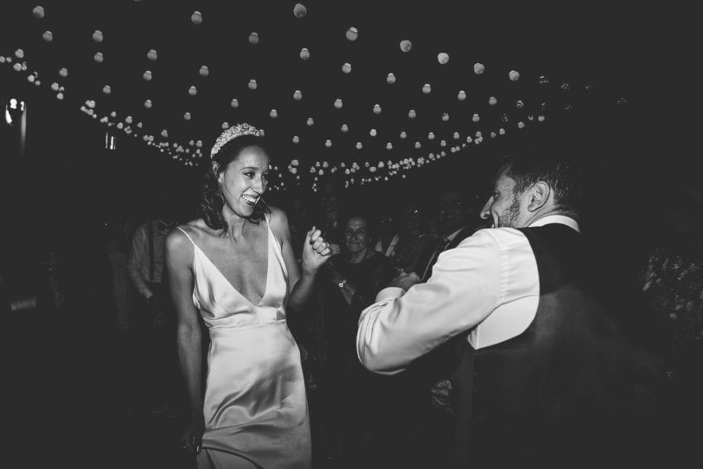 Siobhan in reception wedding dress