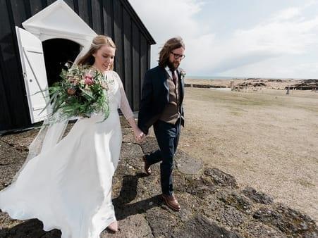 Jayne leaving in wedding dress for ceremony