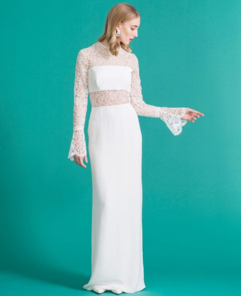 wedding dress with long lace sleeves