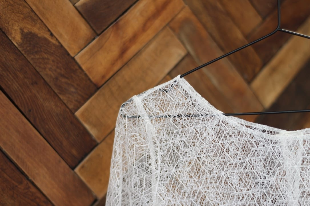 lace bridal top geometric pattern