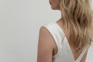 section of back of wedding dress