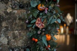 Christmas wedding decorations on wall