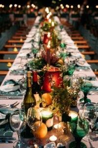 Christmas wedding table centrepieces