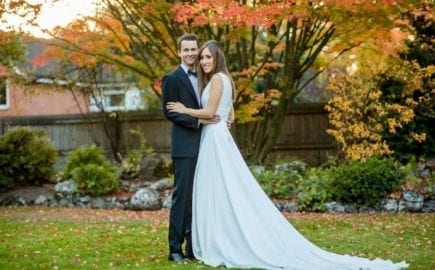 bride and groom autumn wedding photography