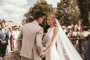 groom and bride wearing long wedding veil