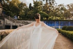 long wedding cape