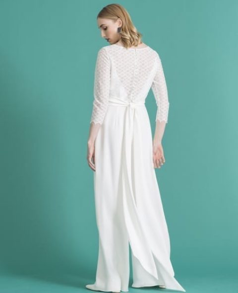 Lace back bridal jumpsuit with sleeves