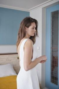 wide strap low back wedding dress