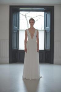 wide strap v-neck wedding dress