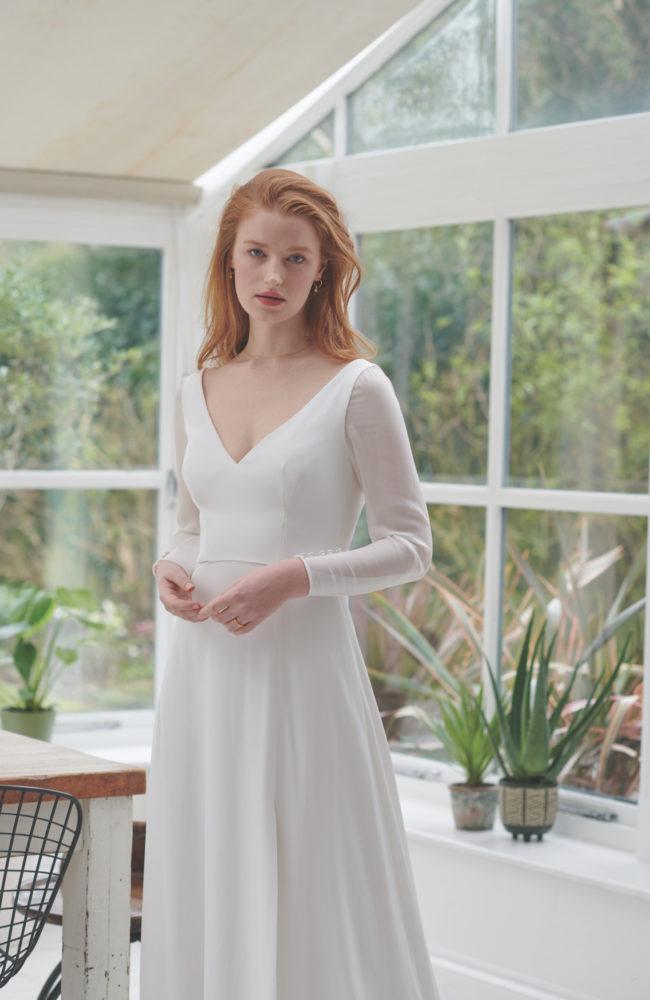 a line georgette wedding dress