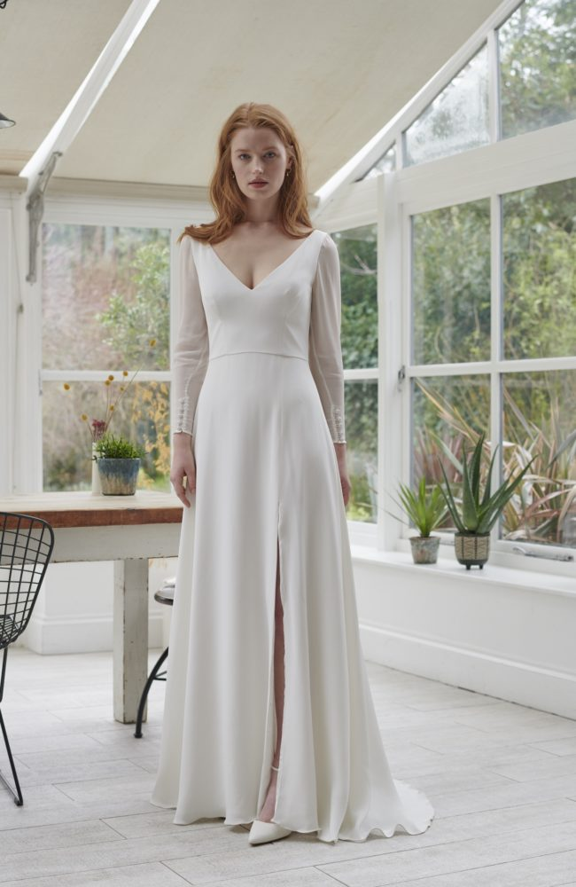 a line wedding dress with sleeves full length