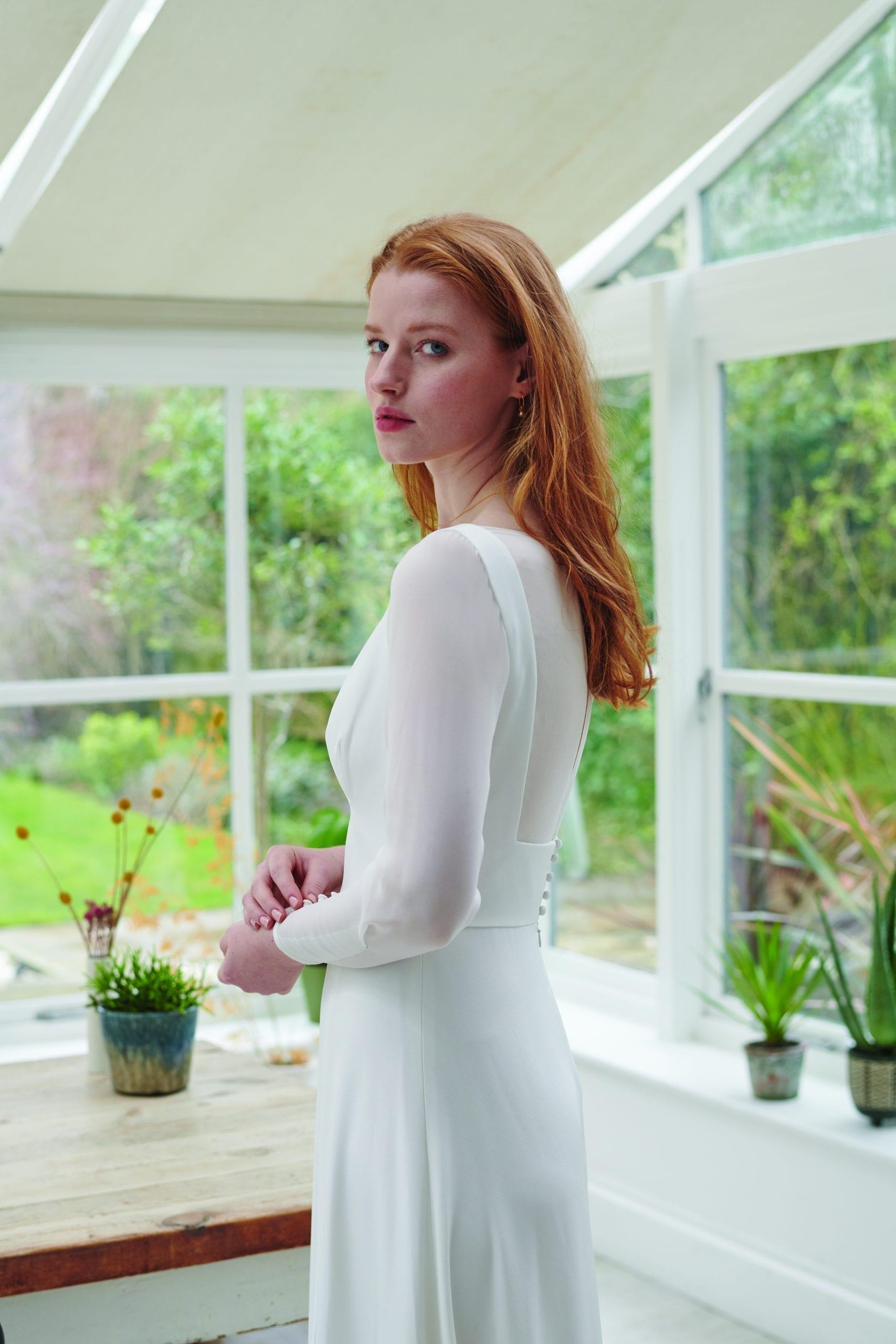 long sleeve a line wedding dress