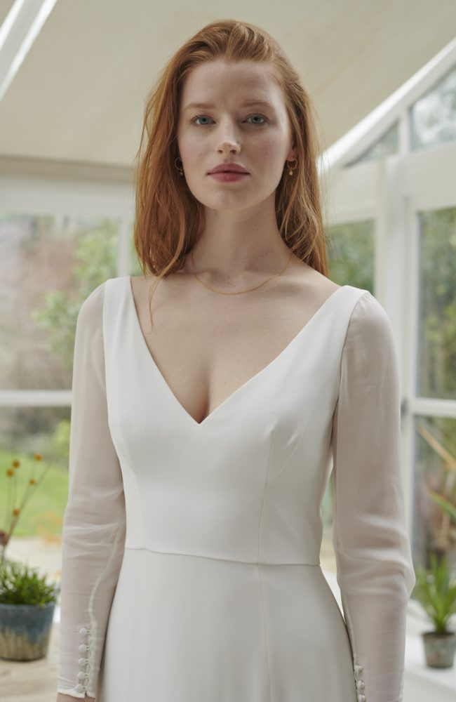 satin a line wedding dress with georgette sleeves