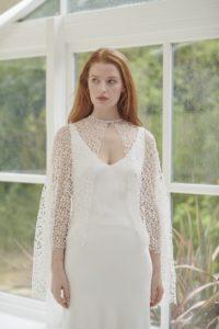 satin v neck wedding dress
