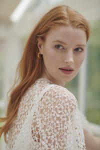 Modern lace wedding cape