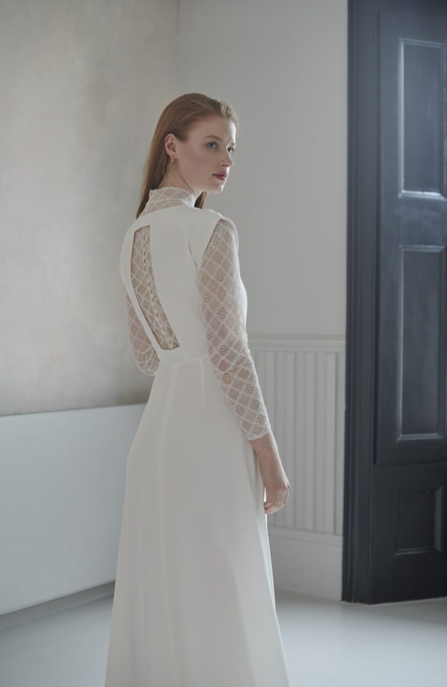 simple long sleeve wedding dress with lace